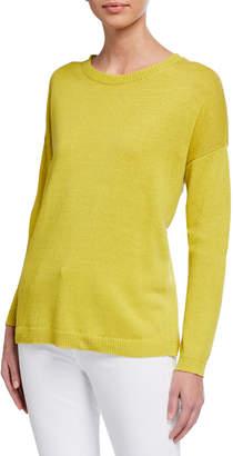 Eileen Fisher Petite Crewneck Long-Sleeve Organic Cotton Sweater