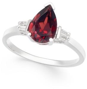 Macy's Rhodolite Garnet (1-5/8 ct. t.w.) & Diamond (1/20 ct. t.w.) Ring in 14k White Gold