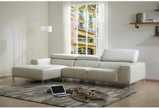 Orren Ellis Yablonski Sofa & Chaise Leather Sectional Orientation: Left Hand Facing