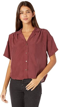 Madewell Camp Top in Solid Habotai Silk (Rich Burgundy) Women's Clothing