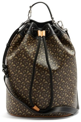 Burberry Chesterton Tb-print Coated-canvas Bucket Bag - Brown