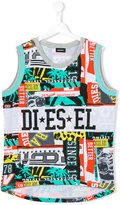Diesel mixed print top - kids - Cotton/Polyester - 16 yrs