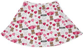 Moschino All Over Print Cotton Sweat Skirt