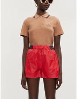 Gucci Brand-badge striped-trim chenille polo shirt