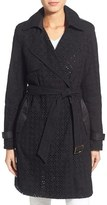 Vera Wang 'Lucy' Eyelet Lace & Satin Trench Coat