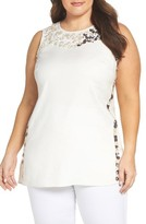 Nic+Zoe Plus Size Women's Embellished Linen Blend Top