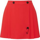 Kenzo Embellished Pleated Crepe Mini Skirt
