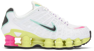 Nike White and Yellow Shox TL Sneakers