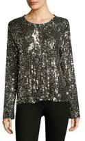 Equipment Abeline Long-Sleeve Sequined Top