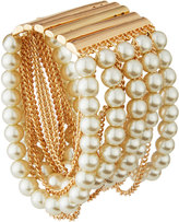 Greenbeads by Emily & Ashley Golden Pearly Chain Multi-Row Bracelet