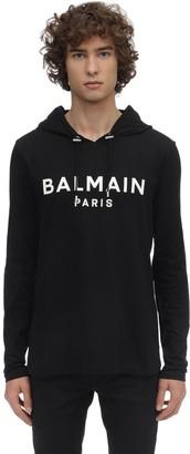 Balmain Hooded Cotton Jersey Ls T-shirt