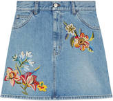 Gucci Embroidered denim mini skirt