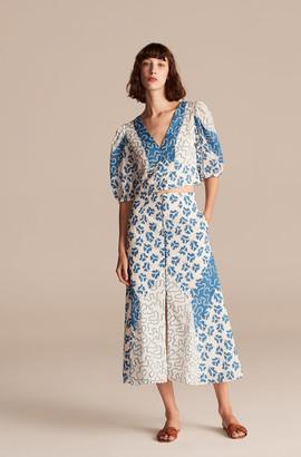 Rebecca Taylor Perla Petal Print Mix Skirt