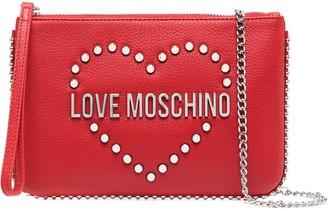 Love Moschino Logo Studded Clutch Bag