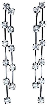 Kenneth Jay Lane 2 Row Black/Crystal Drop Pierced Or Clip Earrings