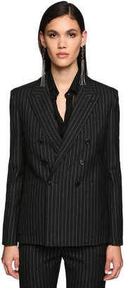 Saint Laurent Double Breasted Pinstripe Wool Blazer