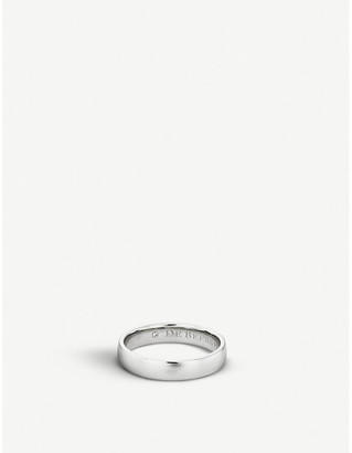 De Beers Women's Platinum Wide Court And Diamond Wedding Band, Size: 53mm