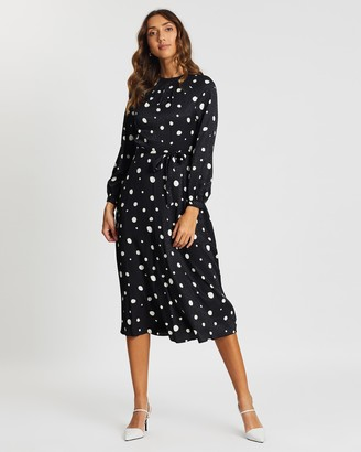 Dorothy Perkins Spot Satin Keyhole Midi Dress