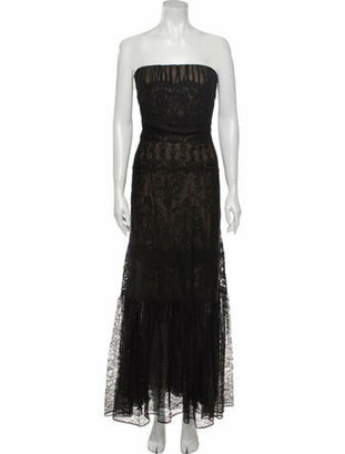 Carmen Marc Valvo Lace Pattern Long Dress Black