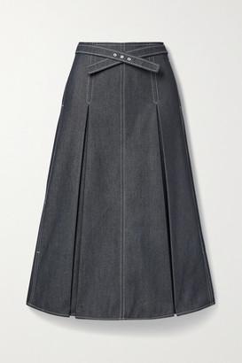 Jason Wu Belted Pleated Denim Midi Skirt - Indigo