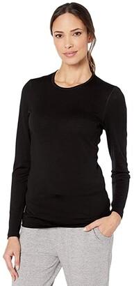 Icebreaker 200 Oasis Merino Baselayer Long Sleeve Crewe (Black) Women's Clothing