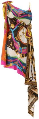 Versace Barocco Printed Draped Dress