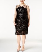 Adrianna Papell Plus Size Sequined Illusion Cocktail Dress
