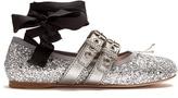 Miu Miu Buckle-fastening glitter ballet flats