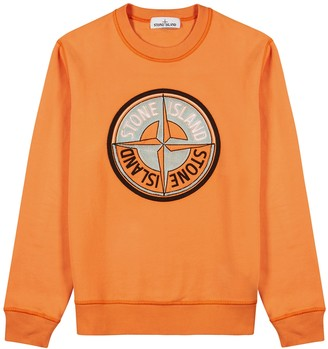 Stone Island Orange logo-embroidered cotton sweatshirt