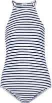 Splendid Striped Stretch-jersey Halterneck Bodysuit - White