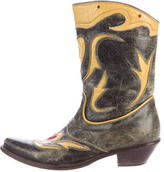 Roberto Cavalli Leather Cowboy Boots