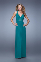 La Femme 21143 Meshed Cutout Sheath Gown