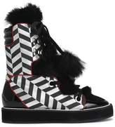 Nicholas Kirkwood Patent-Leather And Faux Fur-Trimmed Lamé Snow Boots