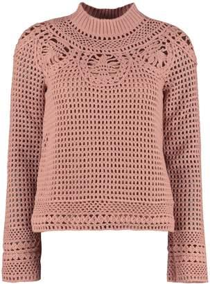 Alberta Ferretti Tricot-knit Wool Sweater
