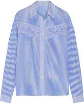 Miu Miu Ruffle-trimmed Striped Cotton-poplin Shirt - Light blue