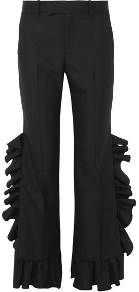 Gucci Ruffled Wool And Mohair-blend Flared Pants - Black