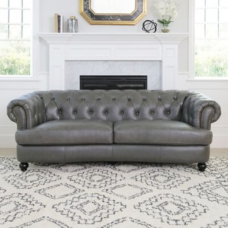 "Barnabas Leather Chesterfield 90"" Rolled Arms Sofa Darby Home Co"