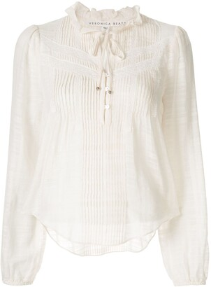 Veronica Beard Pleat-Detailed Cropped Blouse