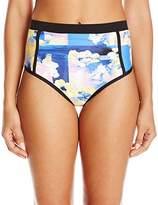 Calvin Klein Women's Geo Floral High Waisted Shirred Bikini Bottom with Binding