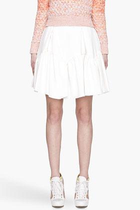 Kenzo Off-white pleated and ruffled flounce Fashion Skirt