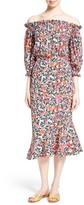 Saloni Women's Grace Print Silk Off The Shoulder Dress