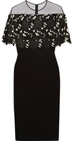 Lela Rose Tulle-paneled Guipure Lace And Stretch Wool-blend Crepe Dress - Black