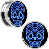 Body Candy Stainless Steel Blue Sugar Skull Screw Fit Plug Pair 13/16""