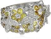 Kenneth Jay Lane Fine Jewelry Sterling Silver, White Topaz and Yellow Sapphire Butterfly Ring, Size 7