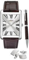 Limit Men's Brown Leather Strap Watch Gift Set