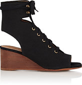 Chloé WOMEN'S CANVAS GLADIATOR WEDGE SANDALS-BLACK SIZE 6.5