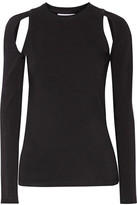 DKNY Cutout Stretch-cotton Jersey Top - Black