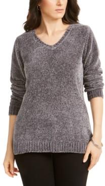 Karen Scott V-Neck Chenille Sweater, Created for Macy's