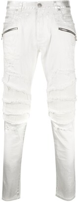 Balmain Ripped Skinny Biker Jeans