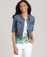 Style&co. Petite Jacket, Short Sleeve Cropped Denim Rhinestone
